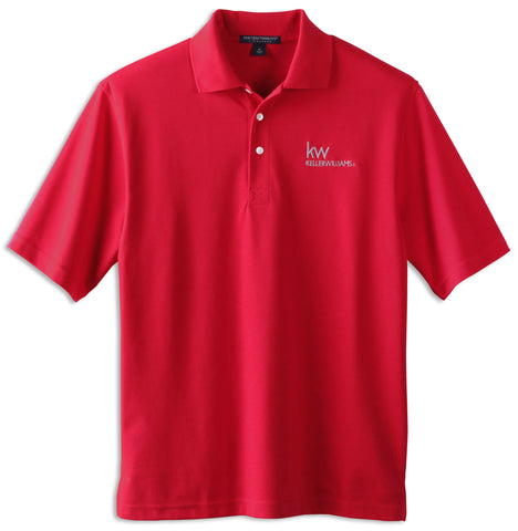 red three button polo with white Keller Williams logo in embroidery