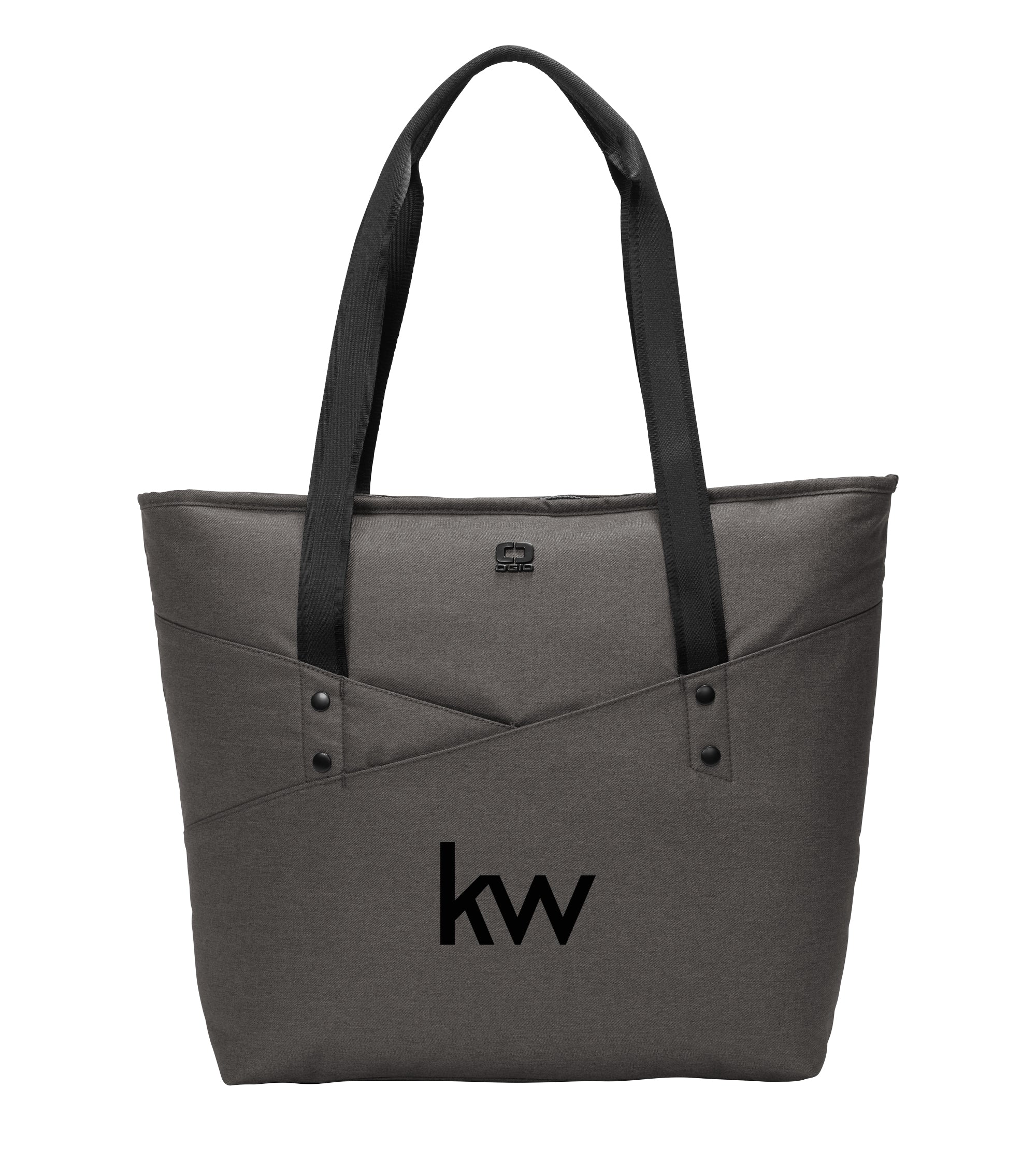 grey OGIO tote with front pocket and Keller Williams logo in black embroidery