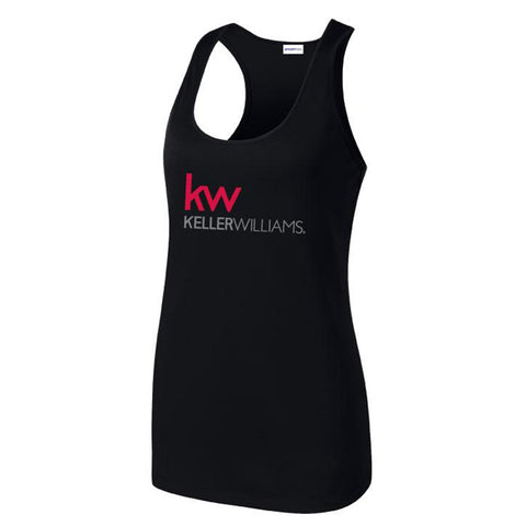 black racerback with screen printed Keller Williams logo in grey and red
