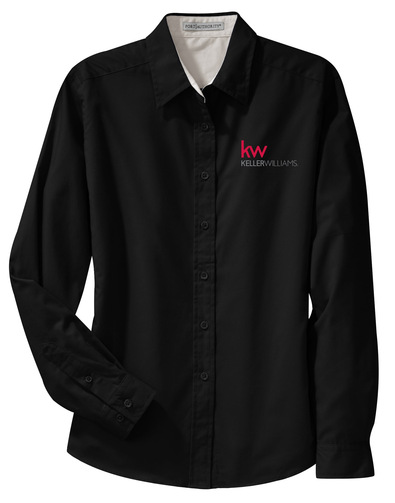 long sleeve black button down with red and white Keller Williams logo in emboidery