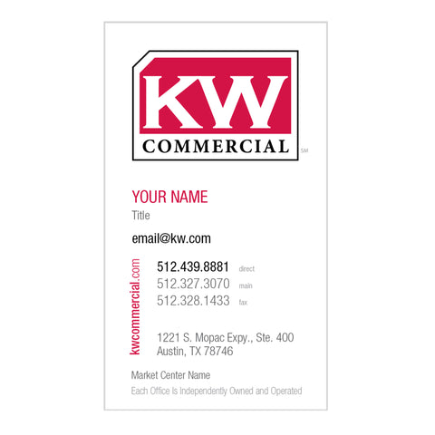 vertical white business card with Keller Williams commercial logo and personal information