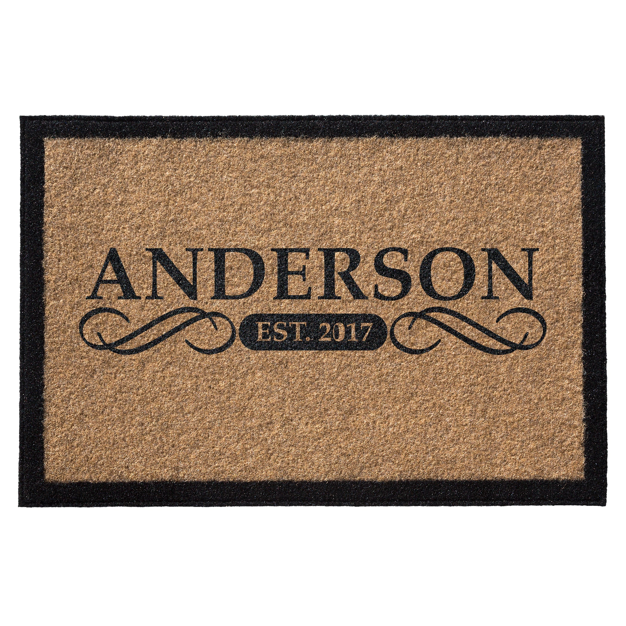 tan doormat with black border and name and date centered