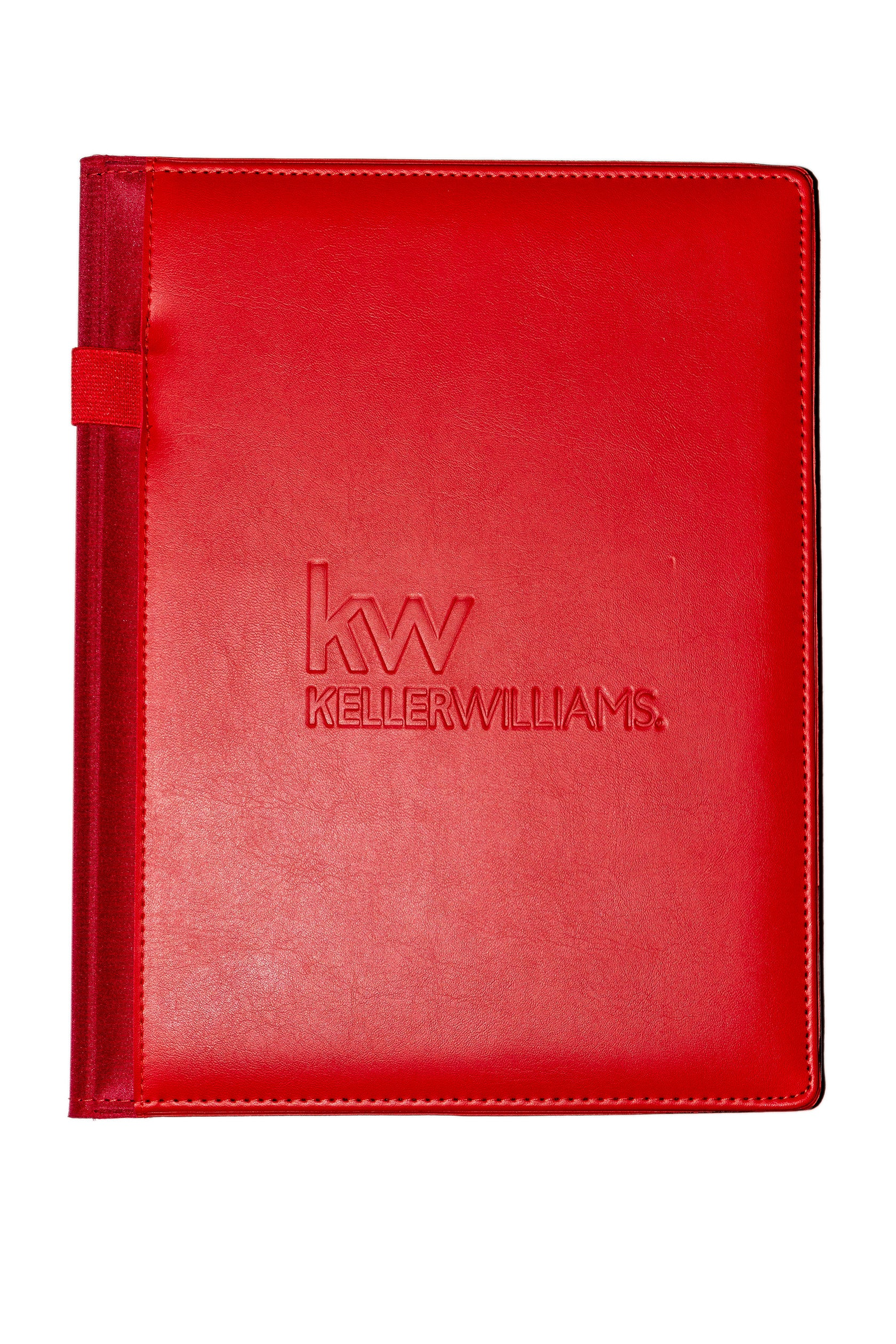 red non zippered pad folio with Keller Williams debossed and pen loop