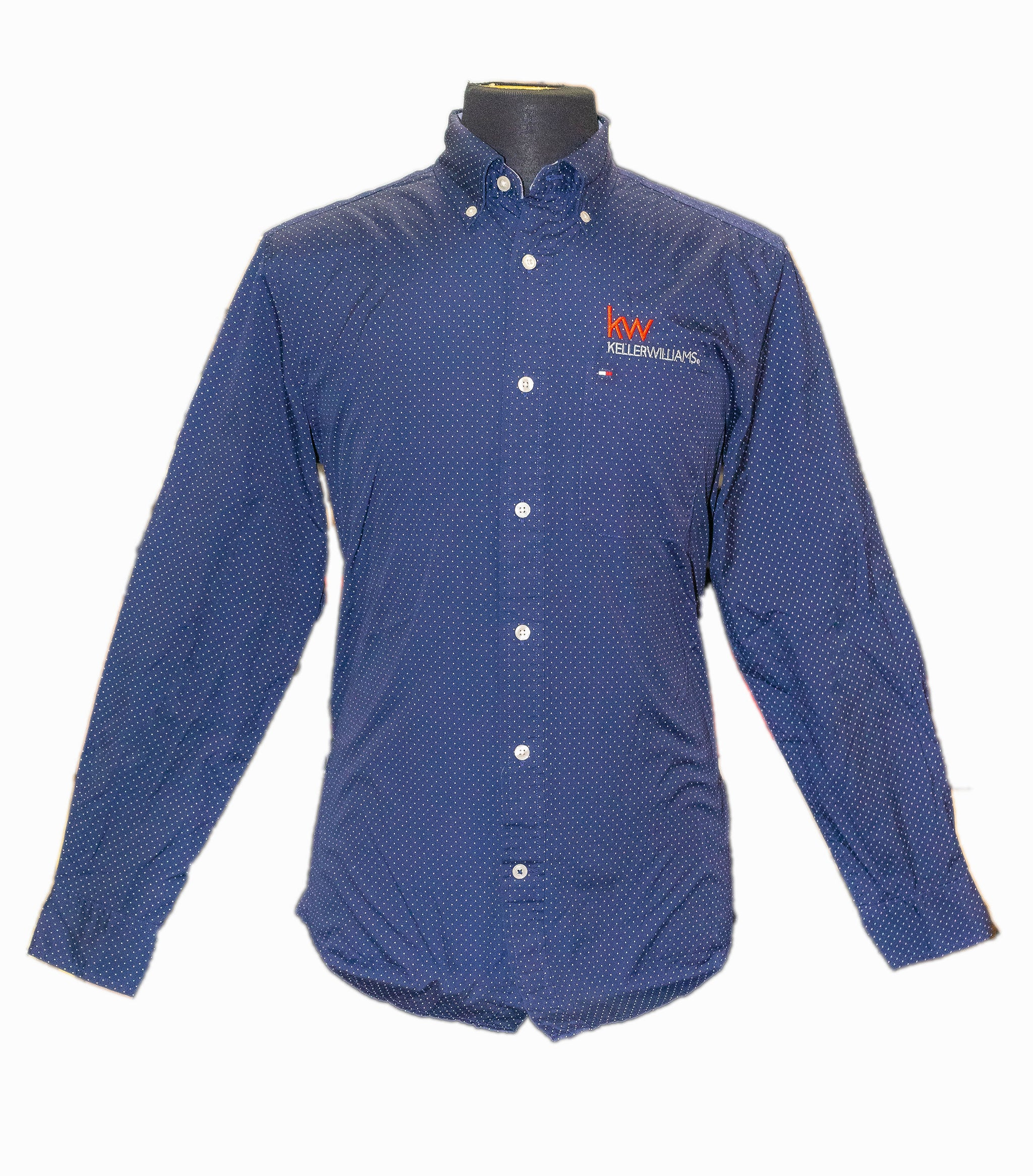 long sleeve button up shirt with polka dots and Keller Williams logo in embroidery