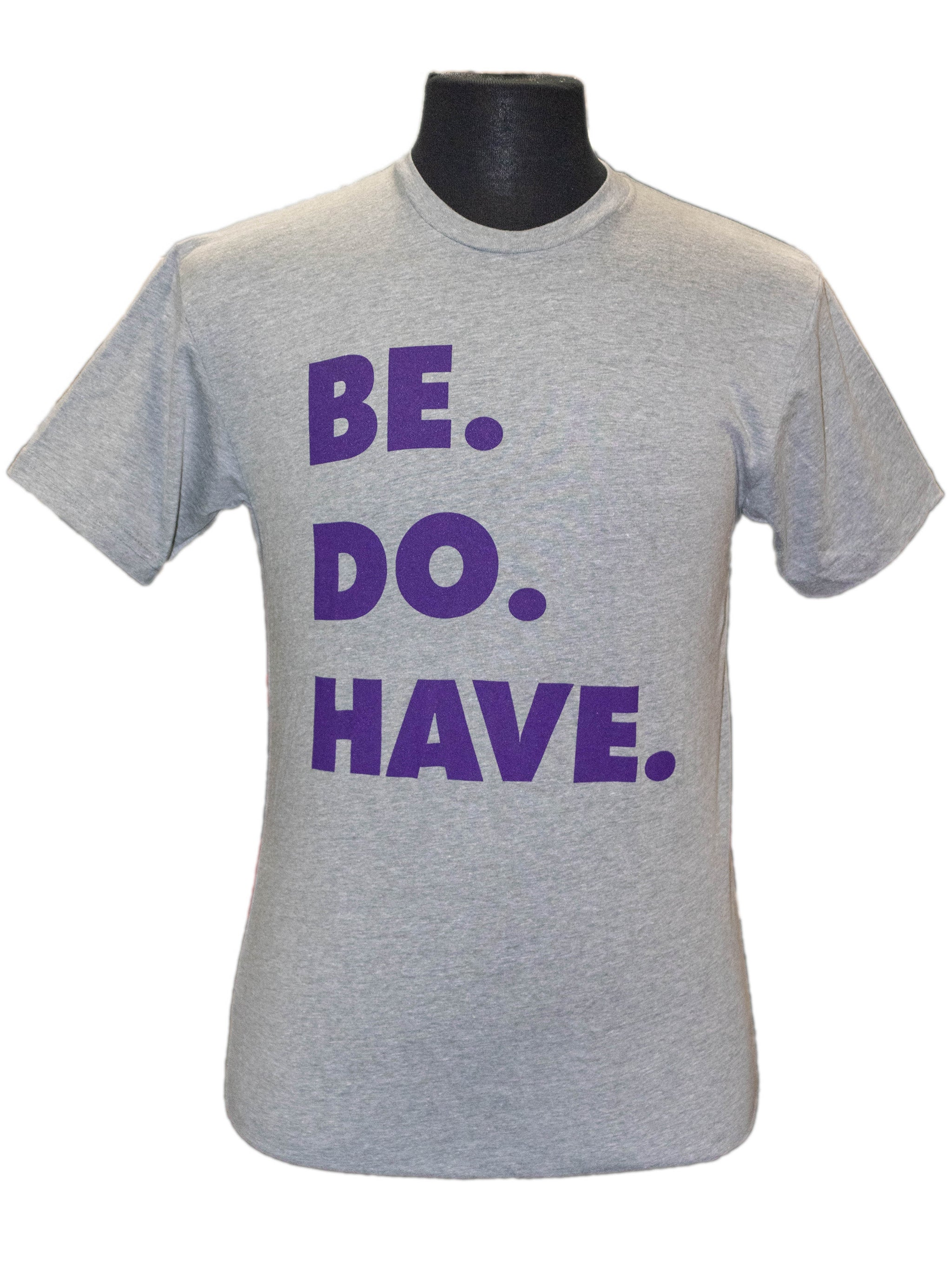 Grey crew neck shirt with Keller Williams saying in purple