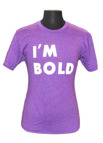 purple crew neck t-shirt with white I'm Bold Keller Williams saying