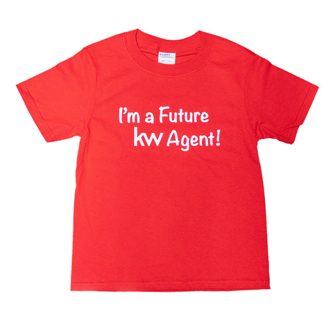 red kids t-shirt with white I'm a Future KW Agent message
