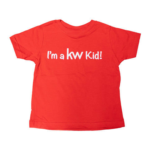 red toddler youth shirt with white screen print message