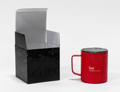 unboxed red stainless steel travel mug with clear lid and white Keller Williams logo