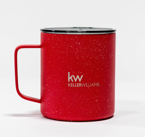 red stainless steel travel mug with clear lid and white Keller Williams logo