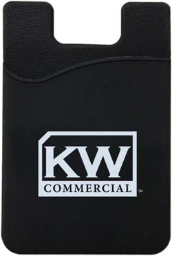 black phone card pocket or wallet with Keller Williams commercial logo in white