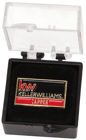 red and black Keller Williams lapel pin with capper