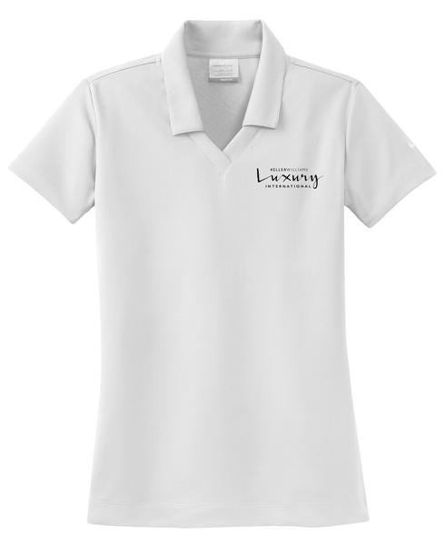 white v neck polo with Keller Williams luxury logo in black embroidery