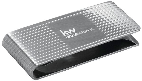 chrome money clip with Keller Williams logo etched in center