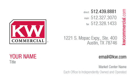 White horizontal business card with Keller Williams commercial logo and personal information