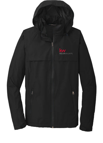 long sleeve full zip hooded rain jacket with the Keller Williams logo in embroidery