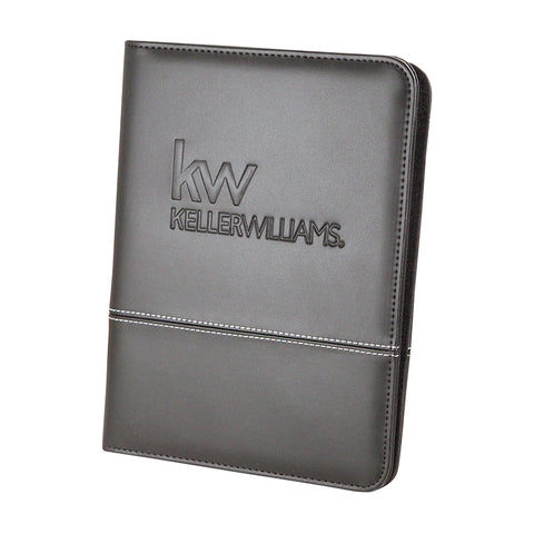mini pad folio in black leatherette with Keller Williams logo debossed