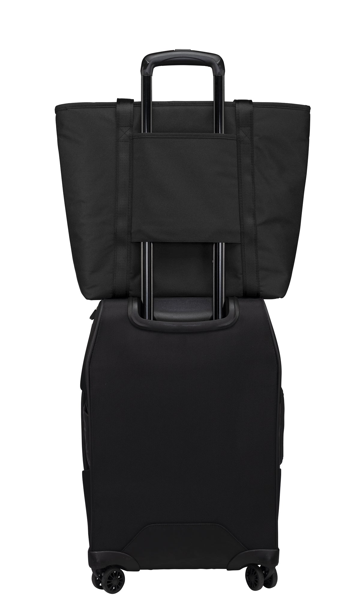 back of OGIO tote with pocket for luggage handle