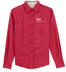 long sleeve red button down with white Keller Williams logo in emboidery