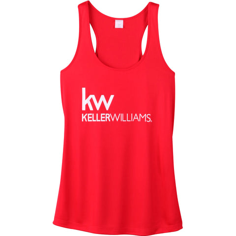 red racerback with screen printed Keller Williams logo in silver grey