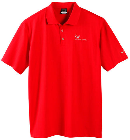 red three button textured polo with Keller Williams logo