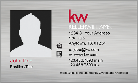 silver business card with photograph, personal information, and red and white Keller Williams logo