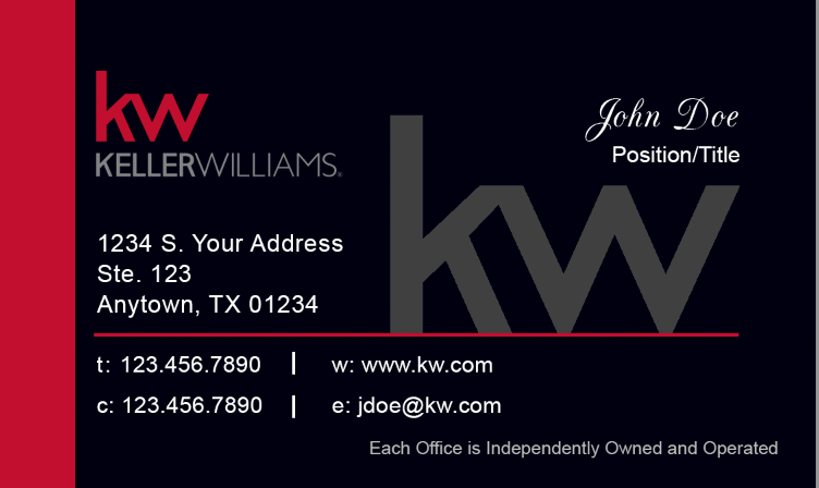 Black Keller Williams notecard with red side banner, KW logo, and personal information