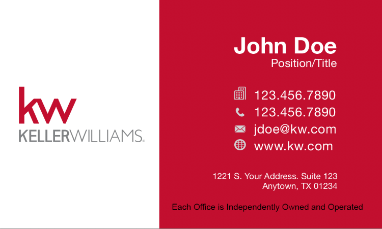 red and white business card with the Keller Williams logo and personal information