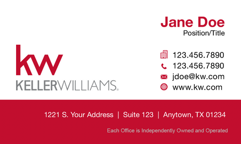 white business card with red footer, Keller Williams logo and personal information