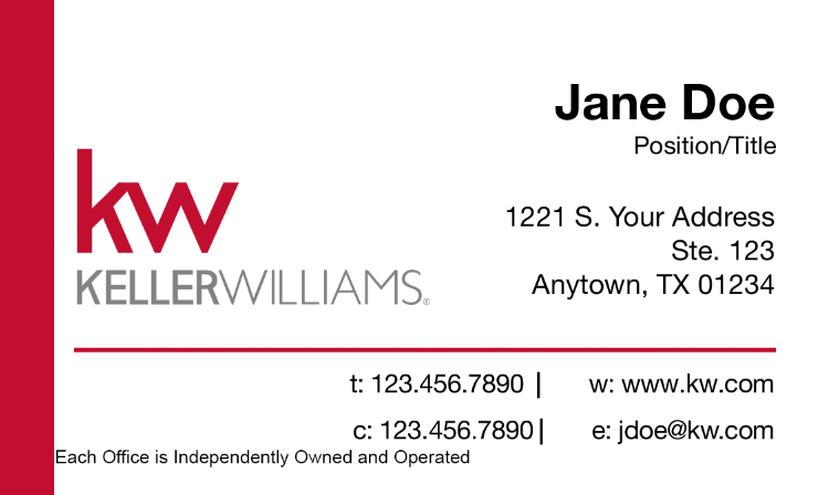 White KW Business Card - Red Banner