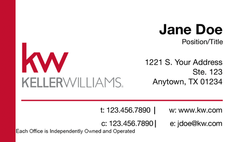 white business card with red Keller Williams banner and personal information