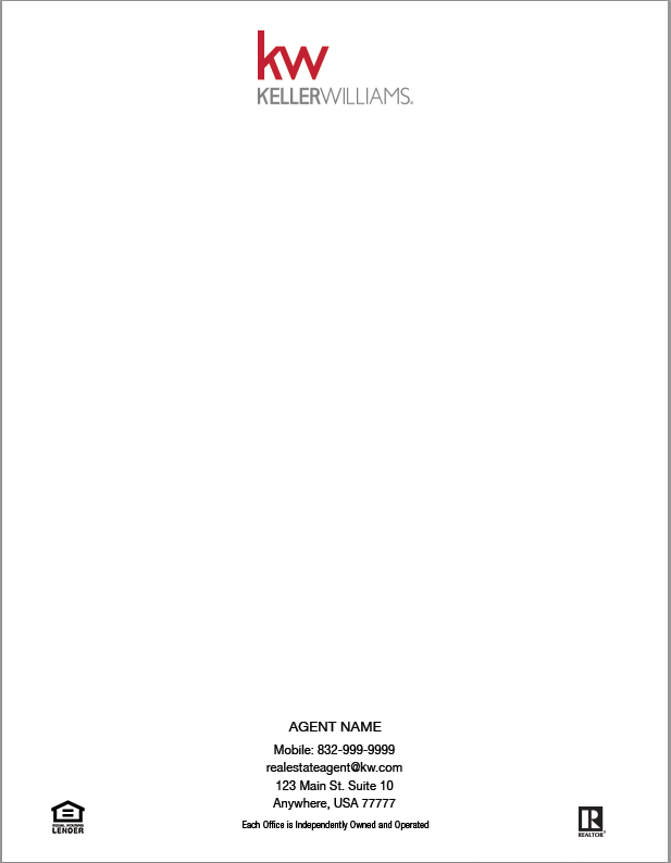 White 8.5x11 letterhead with Keller Williams logo centered on top and personal information on bottom