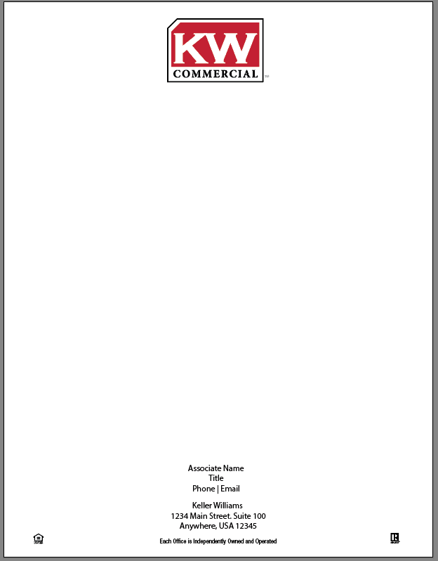 white 8.5x11 letterhead with Keller Williams commercial logo centered at top and personal information at bottom