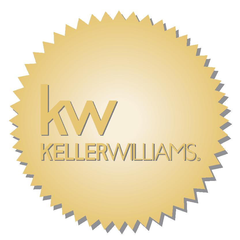 gold label with jagged edges and Keller Williams logo centered