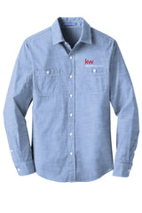 Long sleeve button down blue chambray shirt with Keller Williams logo