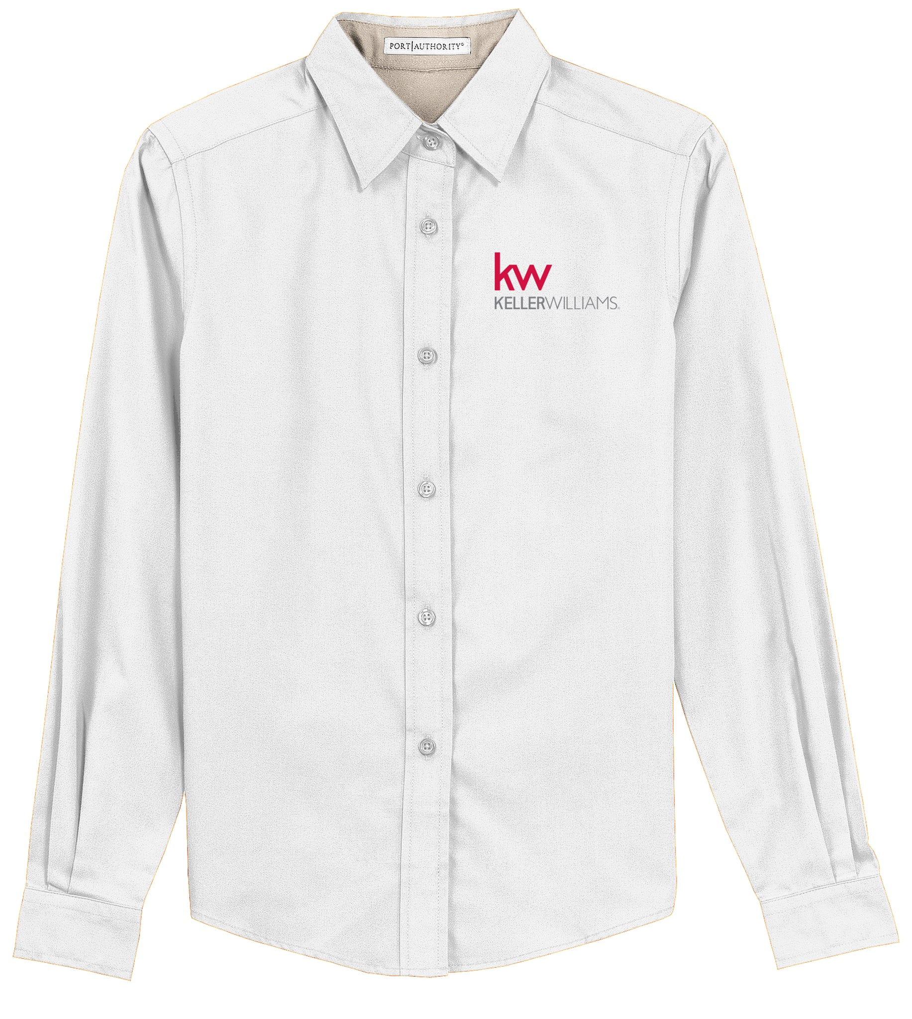long sleeve white button down with red and grey Keller Williams logo in emboidery