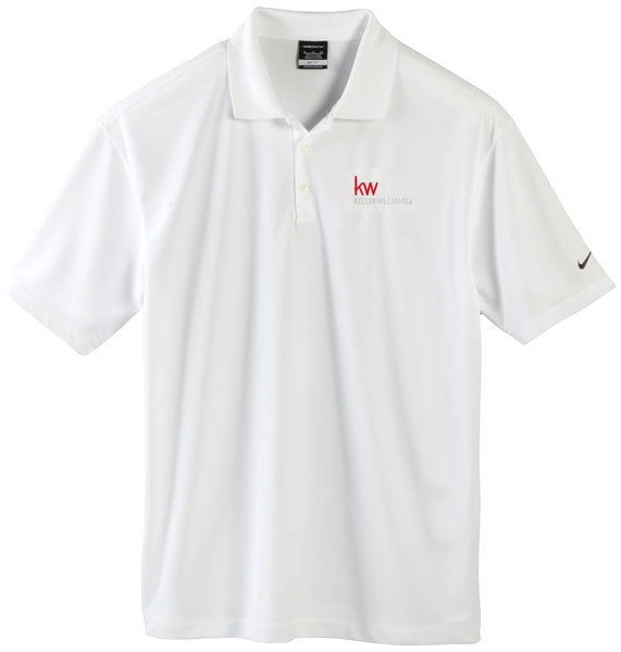 white three-button polo with red and grey Keller Williams logo