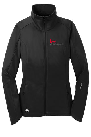 black zip up OGIO jacket with Keller Williams logo in red and white embroidery