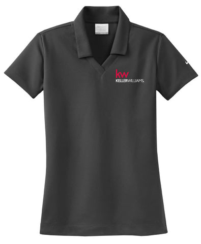 Grey nike polo with johnny collar and Keller Williams logo in embroidery