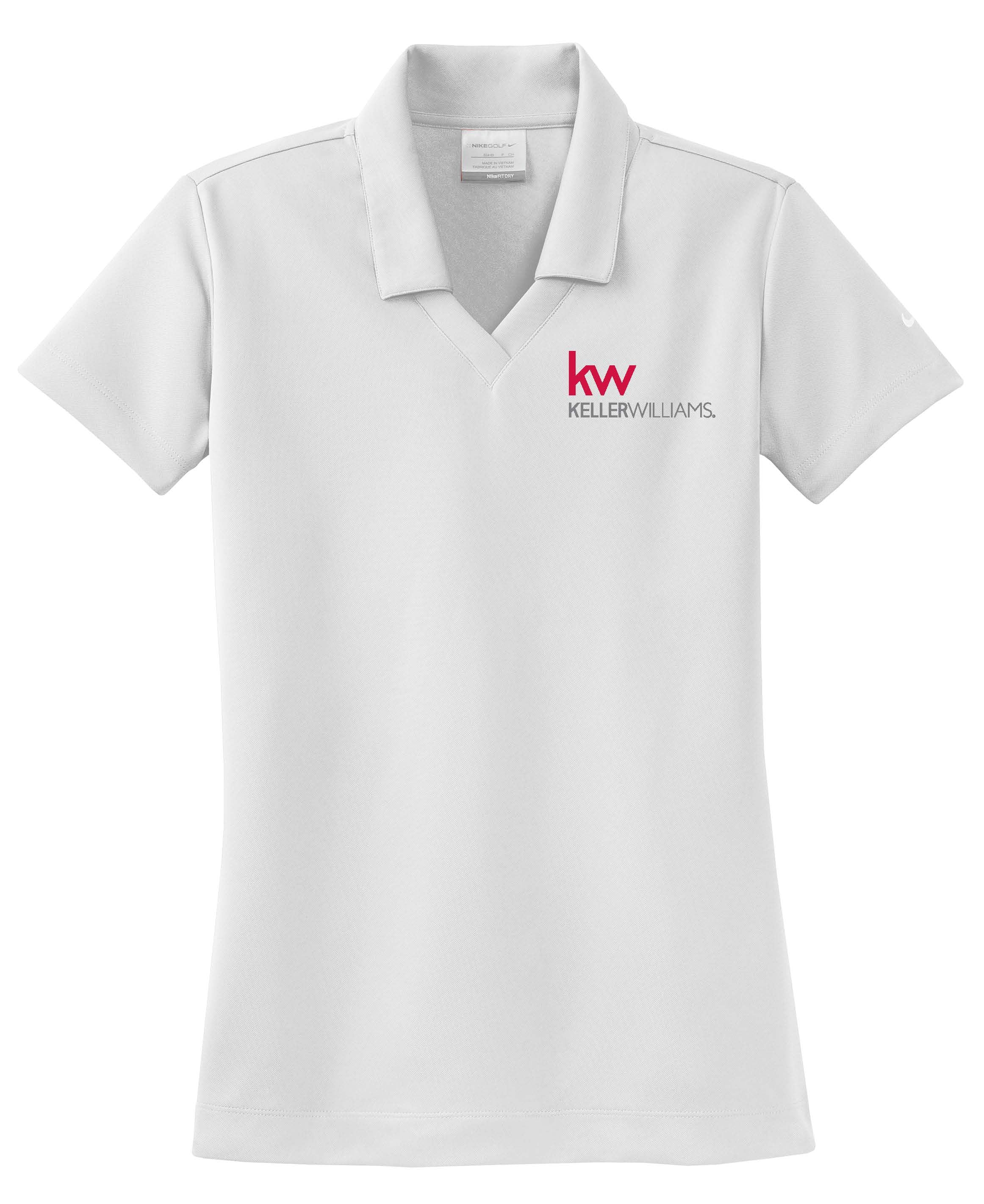 white nike polo with johnny collar and Keller Williams logo in embroidery