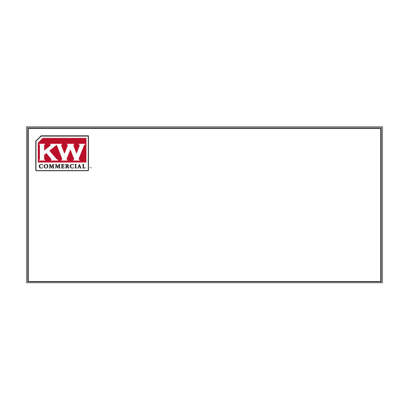 white #10 envelope with red and white Keller Williams commercial in top left corner