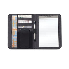 interior of non zippered mini pad folio with writing pad and pen pockets