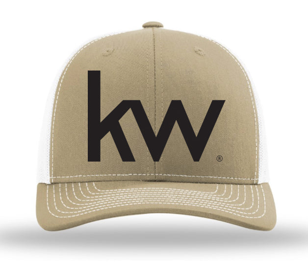 khaki and white trucker cap with black Keller Williams informal logo embroidered