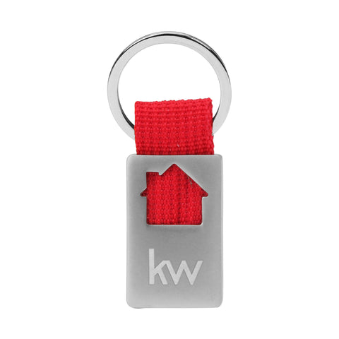 silver and Red keychain with house cut out and Keller Williams informal logo
