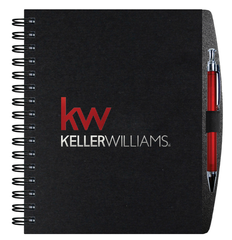 black spiral notebook with red and white Keller Williams logo and red pen