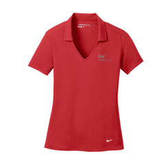 red nike polo with johnny collar and Keller Williams logo in embroidery