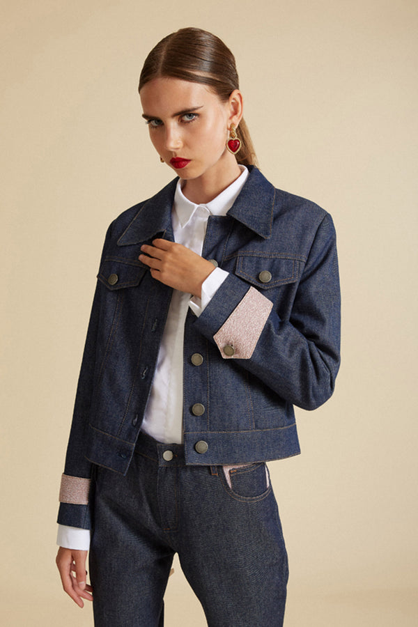 Veste en denim détails lurex rose