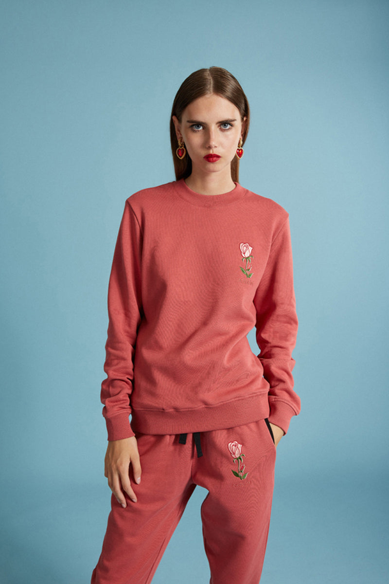Sweat rose avec broderie