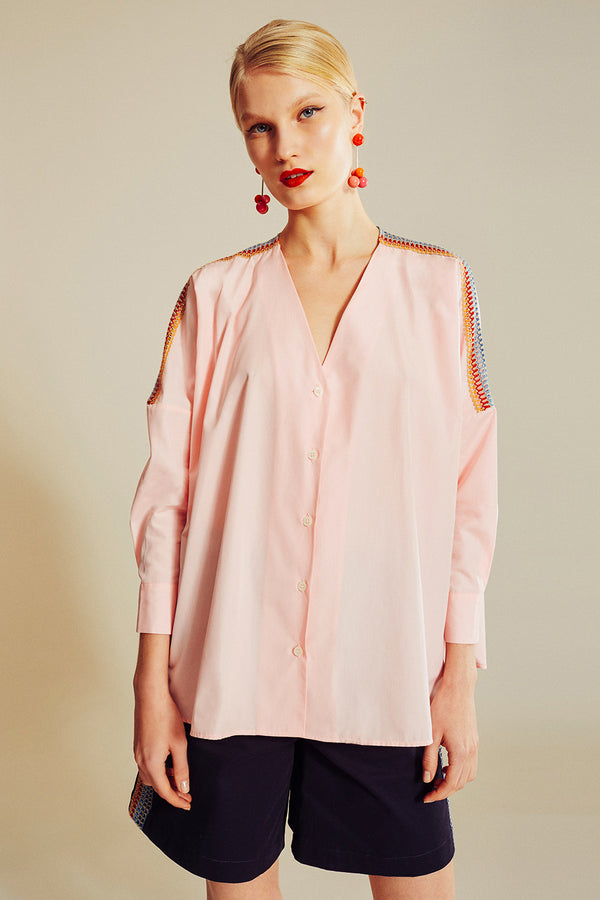 Chemise oversize baby pink