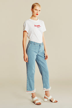 Pantalon en denim à galon